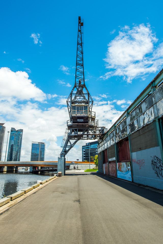 Sir Charles Grimes Bridge, North Wharf customs shed and historic crane