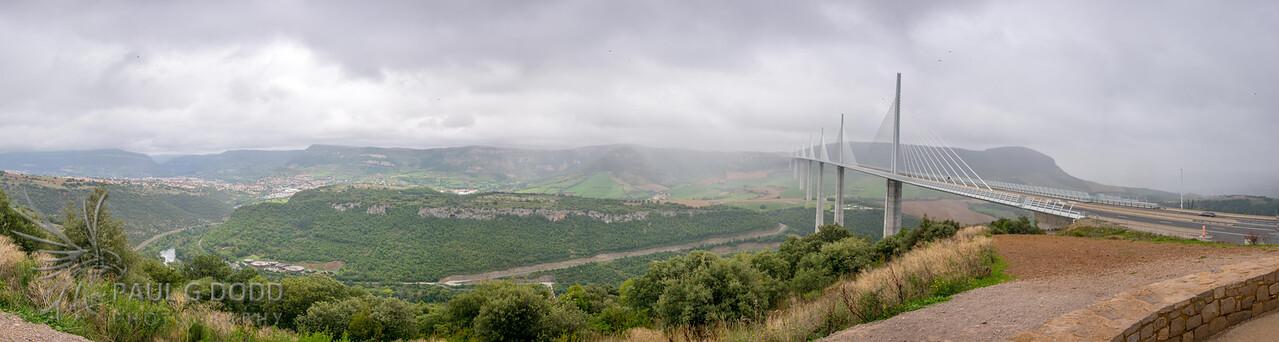 Panorama of Millau and the Viaduc de Millau