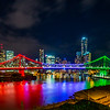 Story Bridge lit up in red, white and green for the Italian Festival