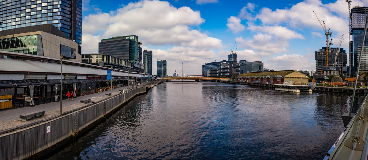 South Wharf and Sir Charles Grimes Bridge, Docklands - Panorama