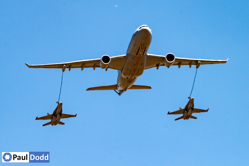 RAAF Airbus  KC-30A Tanker and two F/A 18s