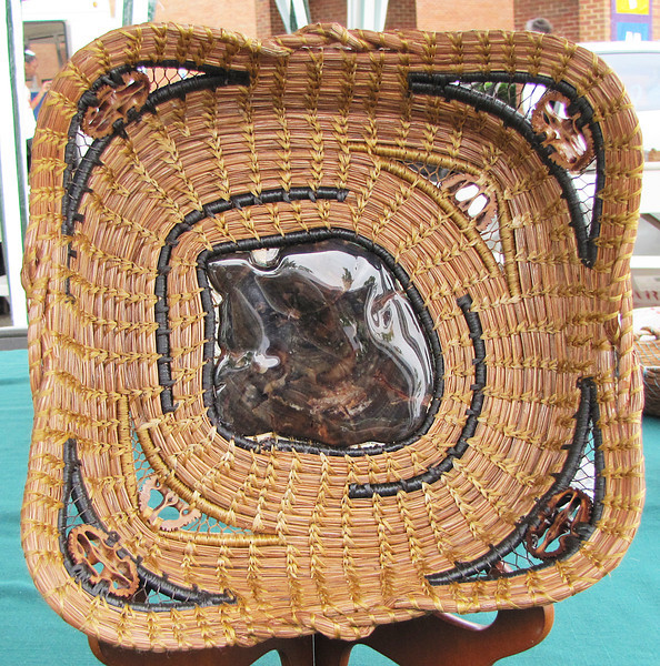 One of the beautiful pine needle baskets our good friend, Jean Kerr, makes