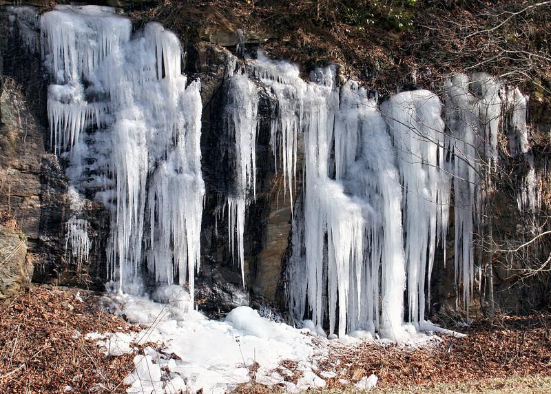 Frozen water along road outside Dahlonega, GA