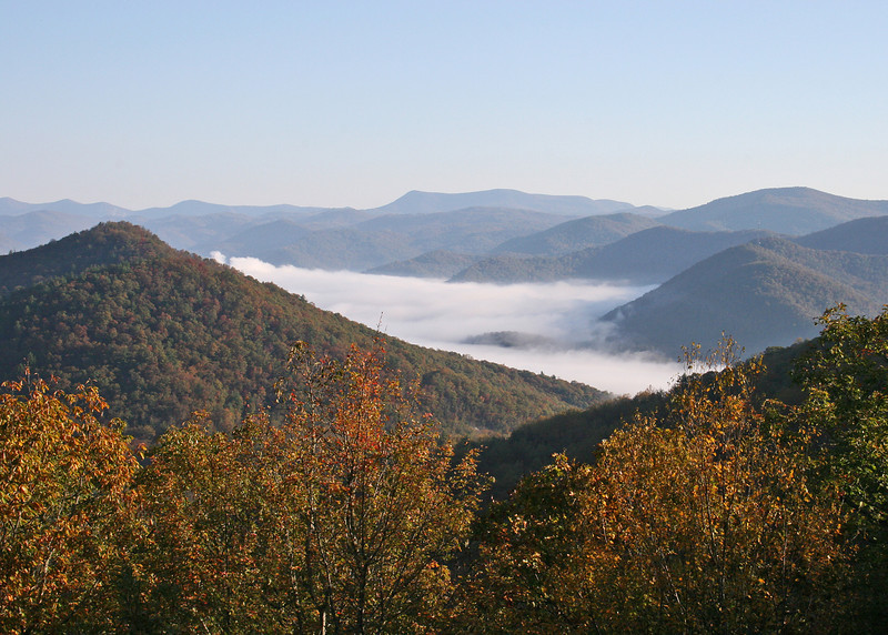 View of the early morning mist from Cowee Overlook at Black Rock State Park