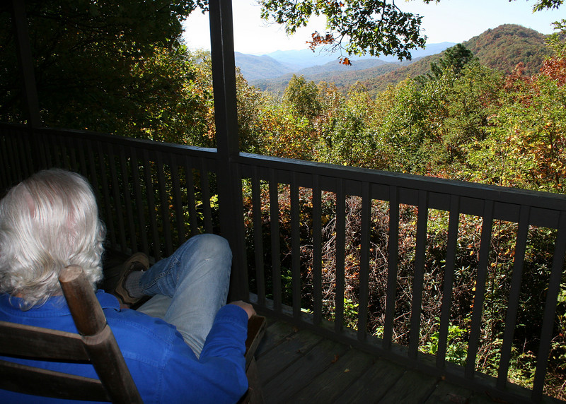 Mike enjoying the view from one of the rocking chairs