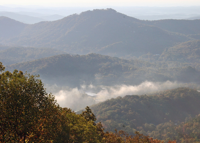Early morning mist in the valley below the Black Rock State Park Visitors' Center
