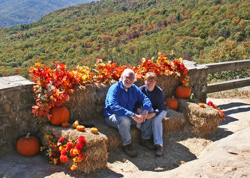 After our hike around the lake we came back up to the Black Rock State Park Visitors' Center to have lunch.  We brought a picnic and sat outside in the sunshine enjoying the beautiful colors.  Here we are with the fall decorations and the fall colors behind us.