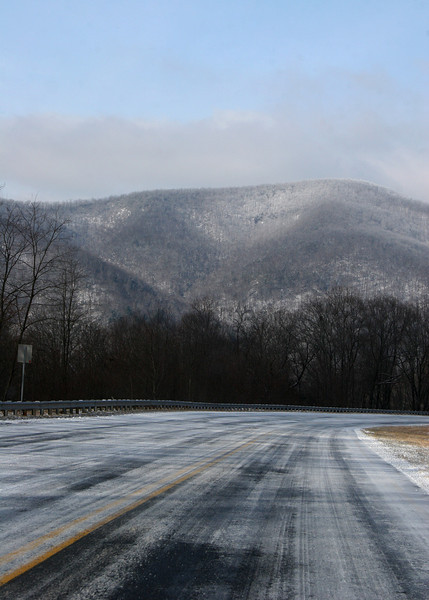 Snow dusted mountains from Highway 76 just before Dalton, GA
