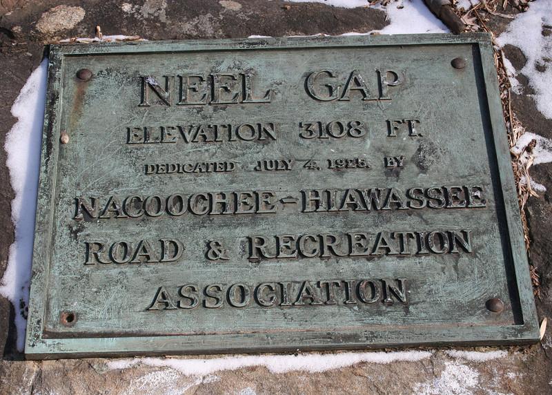Plaque at Neel Gap