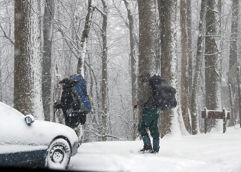 3/2/10 - Here are some hikers starting out on th Appalachian Trail in the snow.