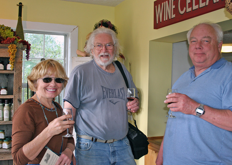 Sonia, Mike and Steve tasting some wine