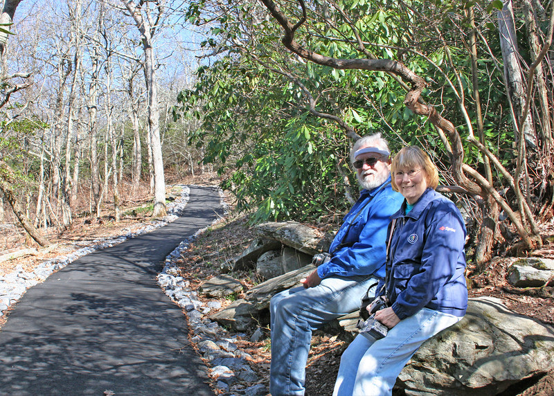 Mike and Susan on the walk up to the top of Brasstown Bald.