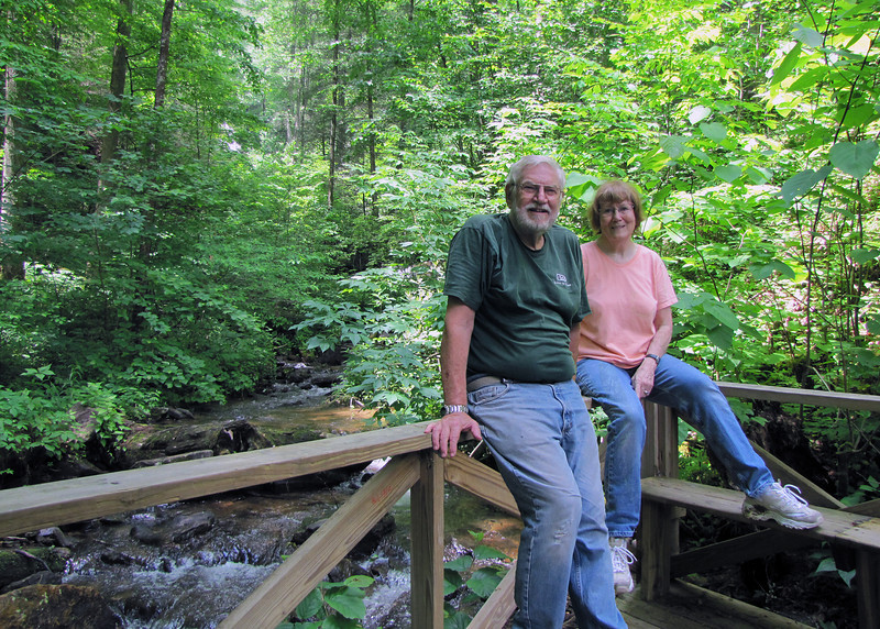 Mike and Susan with stream in background
