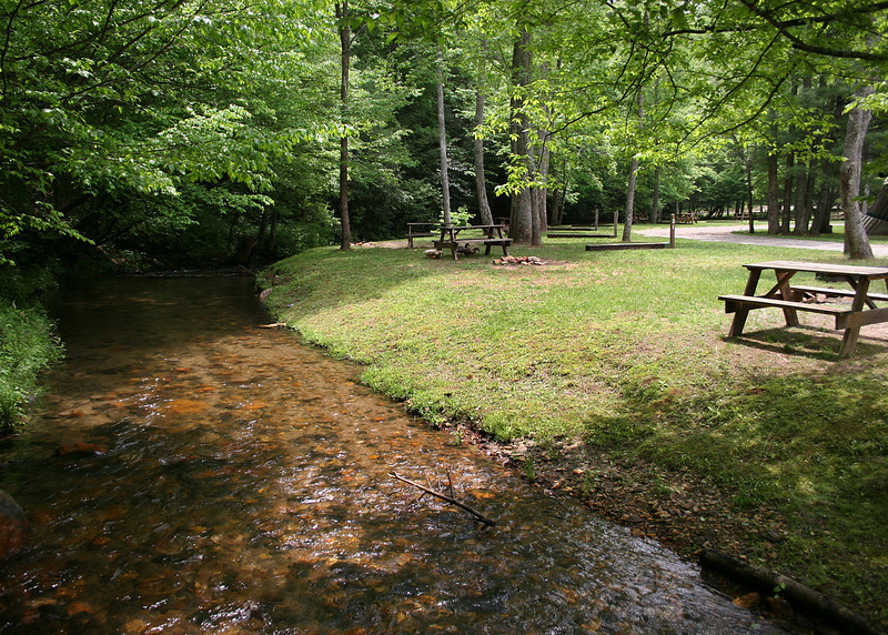 Picnic area along the creek