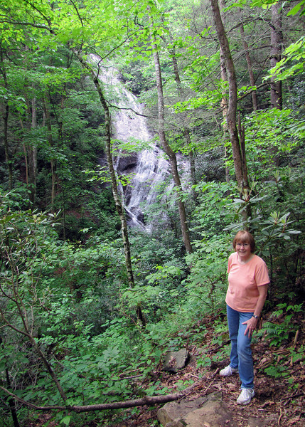 Susan with the waterfall in the background