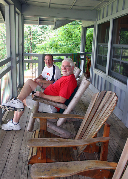 Mike (in red) and Jody, fellow guest, enjoying the deck outside the Sunshine Room.