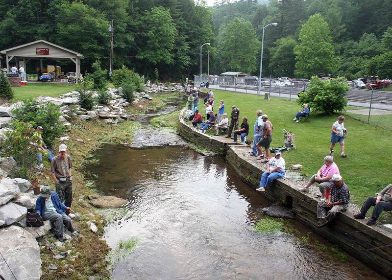 Waiting for the Senior Fishing Derby at Chattahoochee Forest Fish Hatchery to start