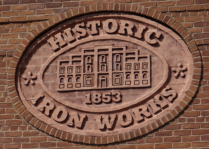 Iron Works sign in brick