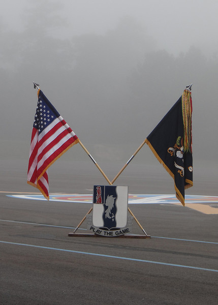Ft. Benning - Flags in the morning fog.