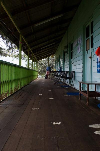 Long snapshot of the chalets and verandah.