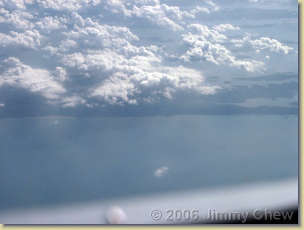 Clouds and land.