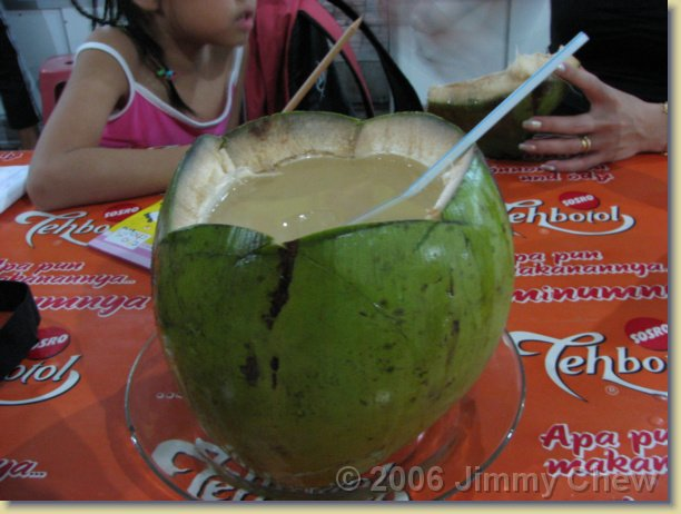 This coconut is big -- the contents is enough to serve three persons. This foodcourt is named Puja Sera.