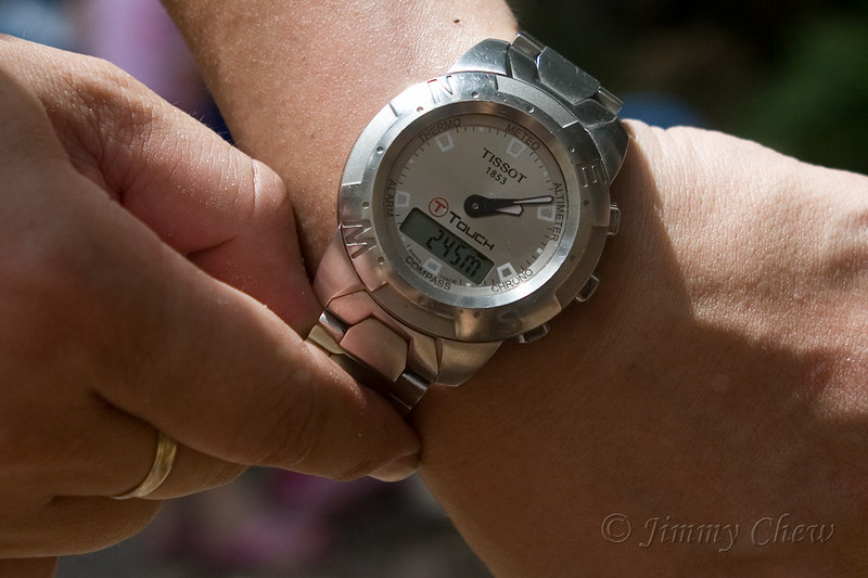 Mervyn's timepiece shows this camping ground is at 245 meters up or 804 feet.