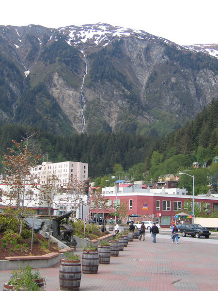 Area by the cruise ship docks with view of the mountains in Juneau, AK