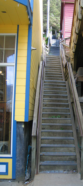 """Juneau, AK is known as """"San Francisco of the North"""" for it hills.  I didn't climb these steep stairs to see where they lead."""