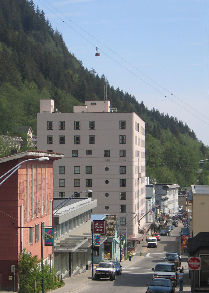 Look closely above the big beige building to see the tram on its way to the top of Mt. Roberts at 2,000 feet elevation