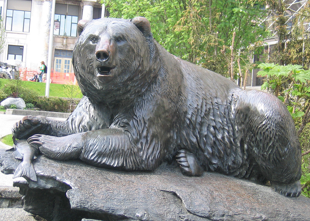 This bronze sculpture of an Alaskan brown bear by RT Wallen of Juneau was commissioned by the Silver Anniversary Committee of the City and Borough of Juneay in celebration of the first quarter century of Alaska Statehood.  1959-1984