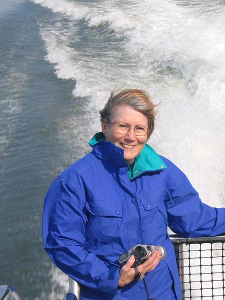 The wind blown look as Susan enjoys the catamaran ride