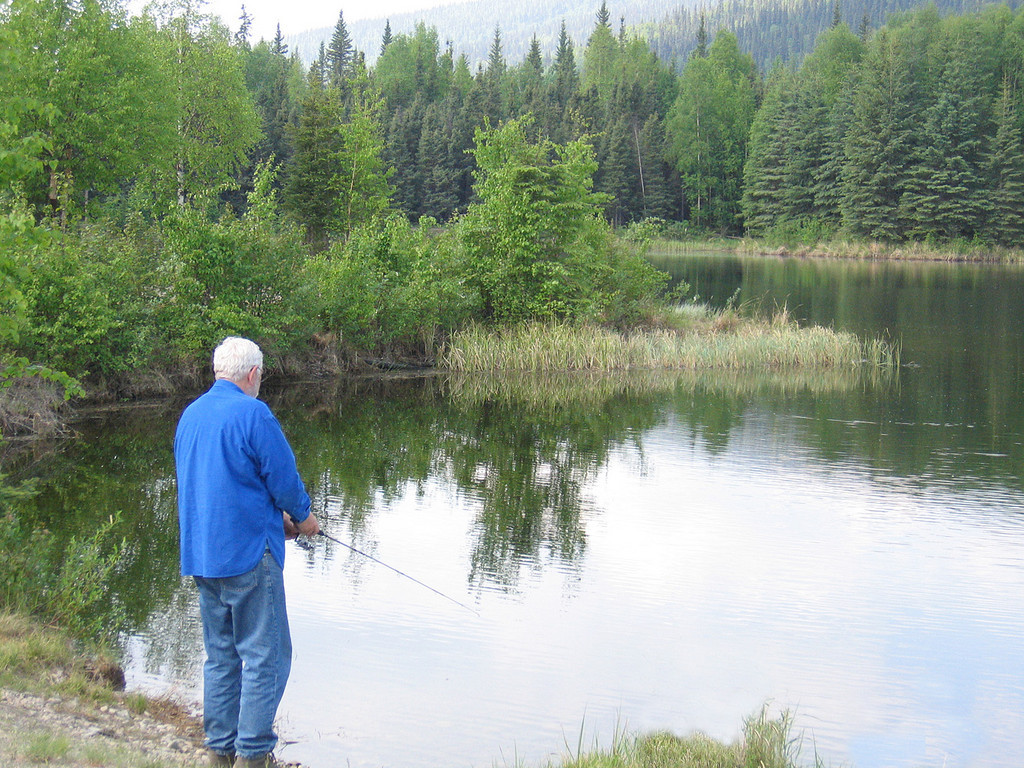 Mike fishing 36.6 Mile Pond (yes, that is the name!!) along Steece Highway