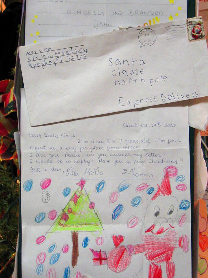 Children write letters to Santa at Santa Claus House, North Pole, AK