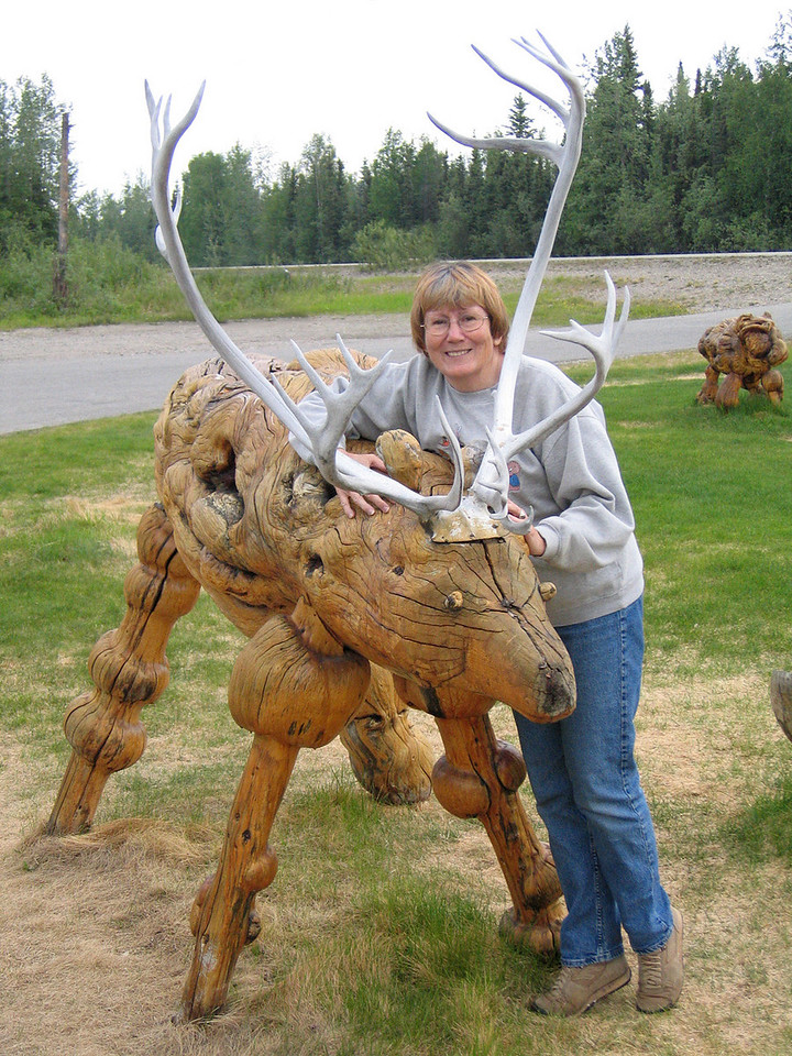 Susan with a burl Caribou