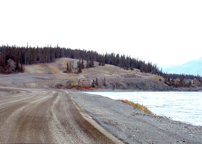 They are resurfacing the road on the east side of Kluane Lake