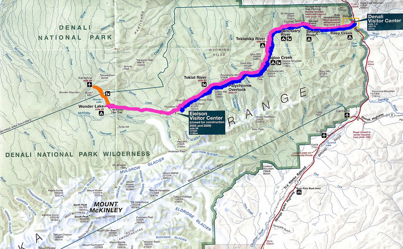 The map shows our three trips into the park.  The first trip to Wonder Lake is marked in pink; the second trip to Kantishna was the same as Wonder Lake but went another 7 miles and is marked in orange.  The last trip to Fish Creek is marked in blue.