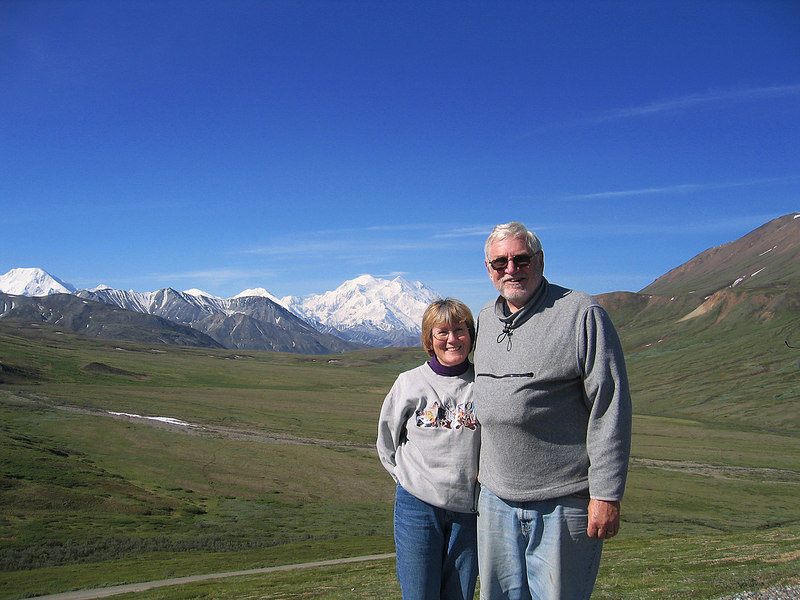 Mike and Susan with Denali (Mt McKinley) in background as seen from Stoney Point Overlook