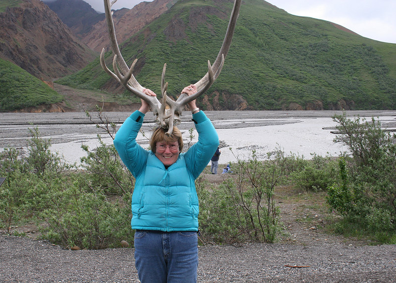 Susan with Caribou antlers at Toklat River Rest Stop