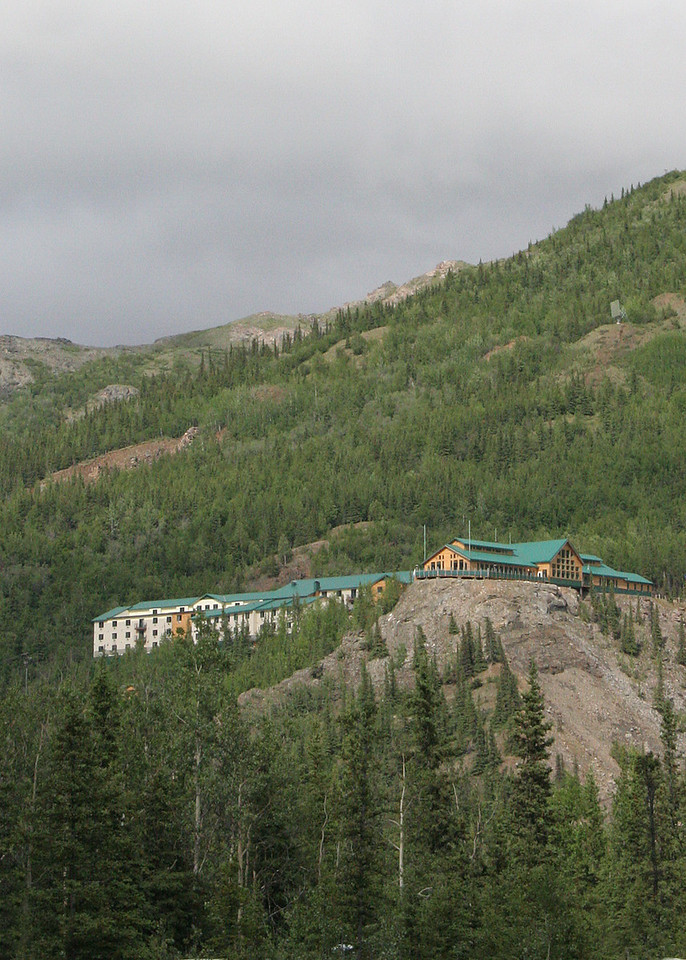 One of the resorts, perched high on a hill,  in the Denali Park Commercial Area