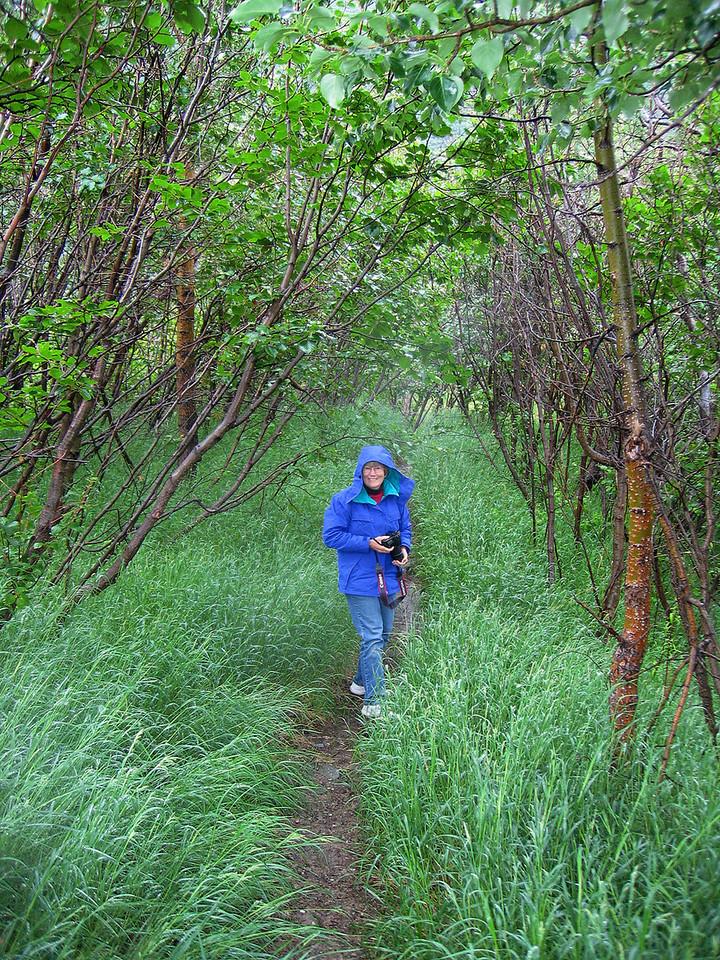 Susan on path to Moody Bridge