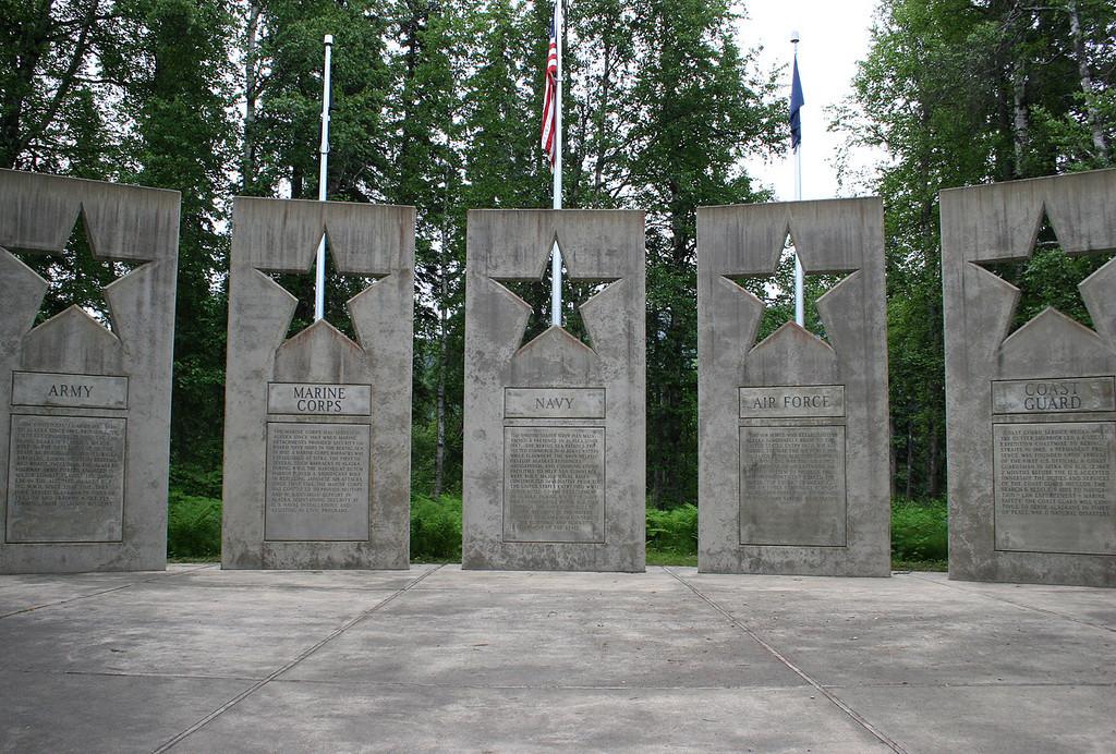 Alaska Veterans Memorial/POW-MIA at Byers Lake; five 20 foot panels, each representing a branch of the service