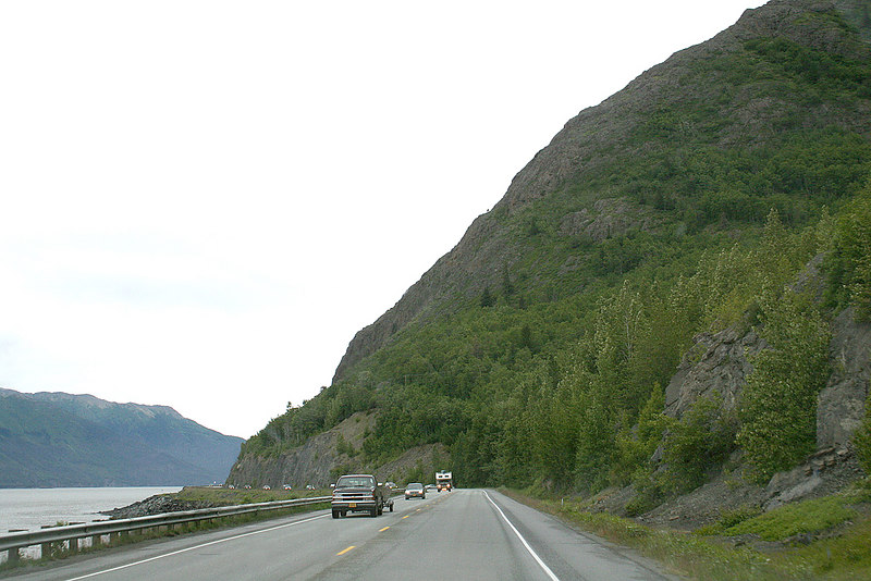 Just outside of Anchorage showing the mountains rising steep from water's edge