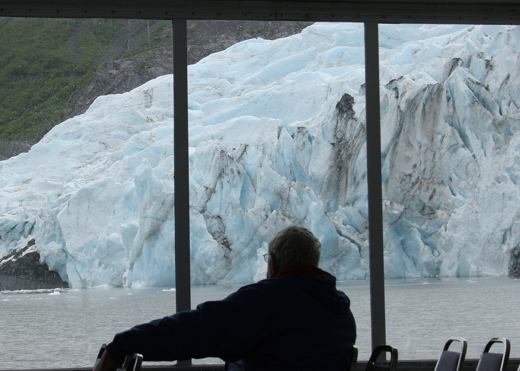 Mike viewing Portage Glacier from inside the Ptarmigan