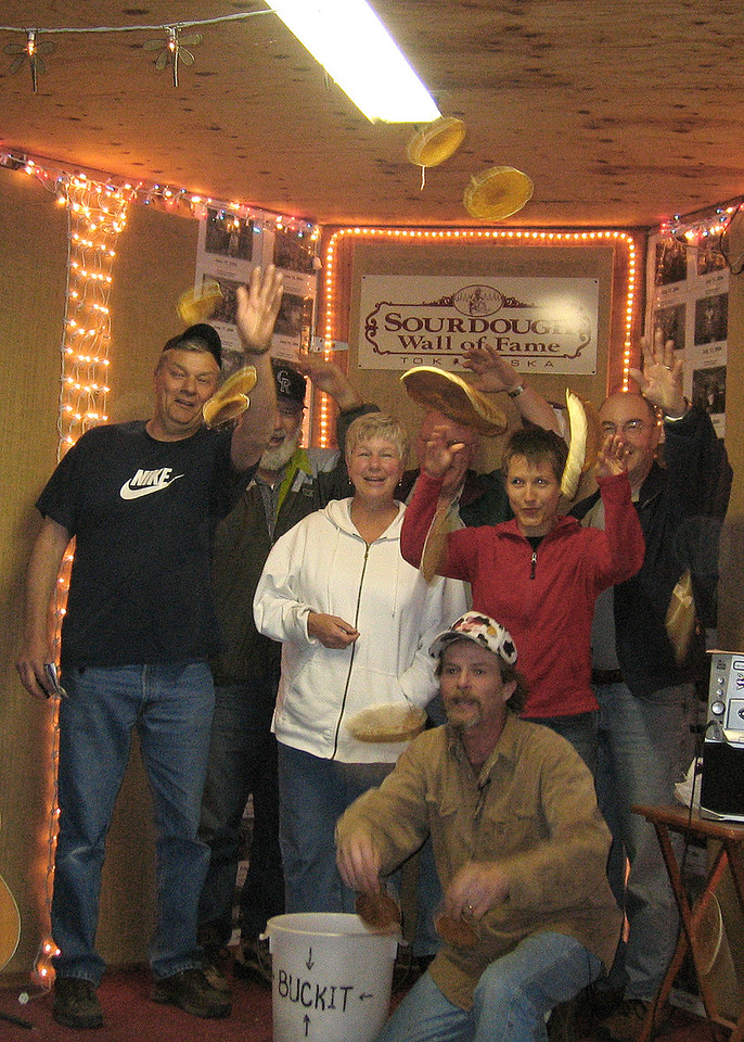 The winners of the pancake toss with the owner of Sourdough Campground in foreground