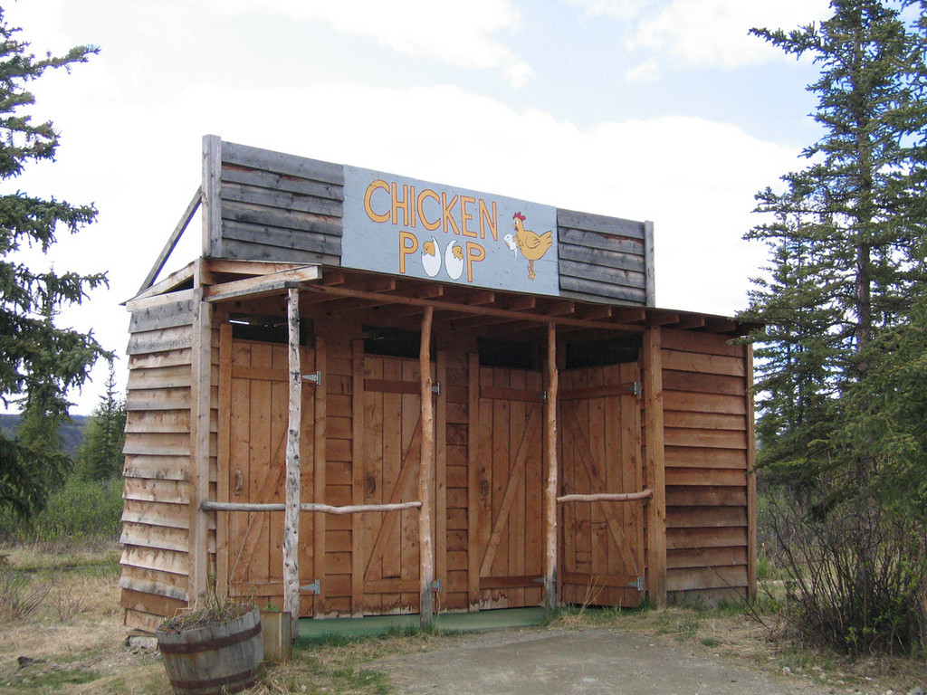 """The Chicken Poop, the picturesque outhouse in """"Beautiful Downtown"""" Chicken, AK"""