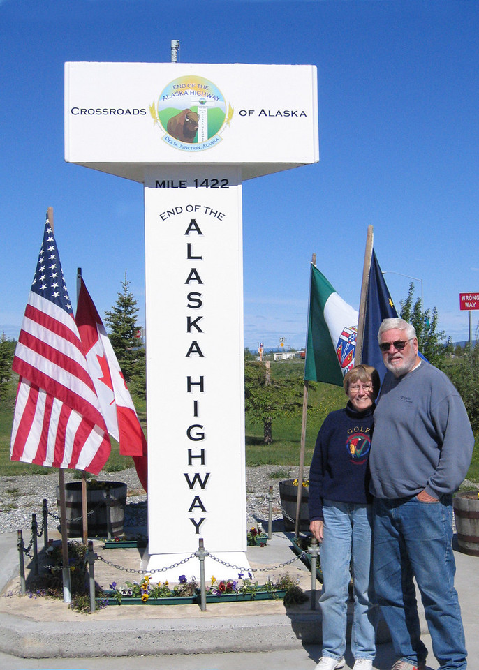 Mike and Susan at the end of the Alaska Highway
