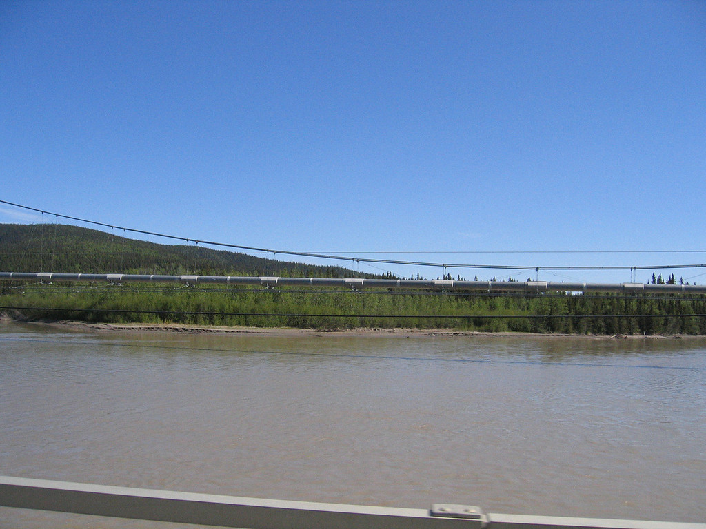Pipeline over the Tanana River just outside of Delta Junction, AK