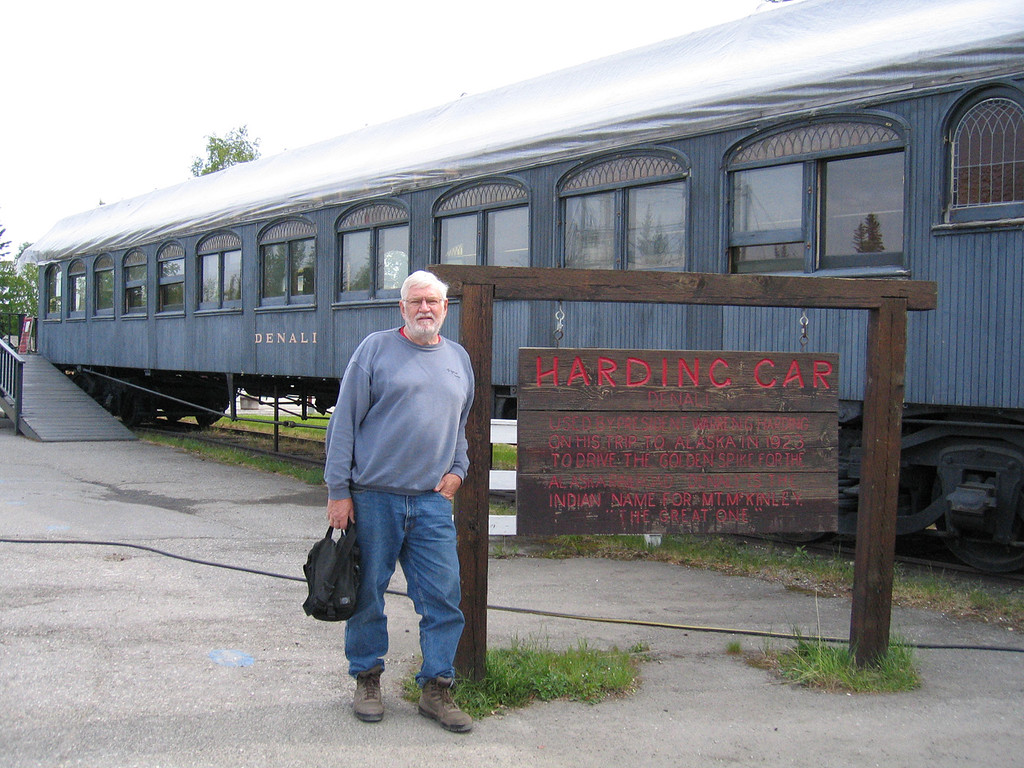Mike at the Harding car in Pioneer Park