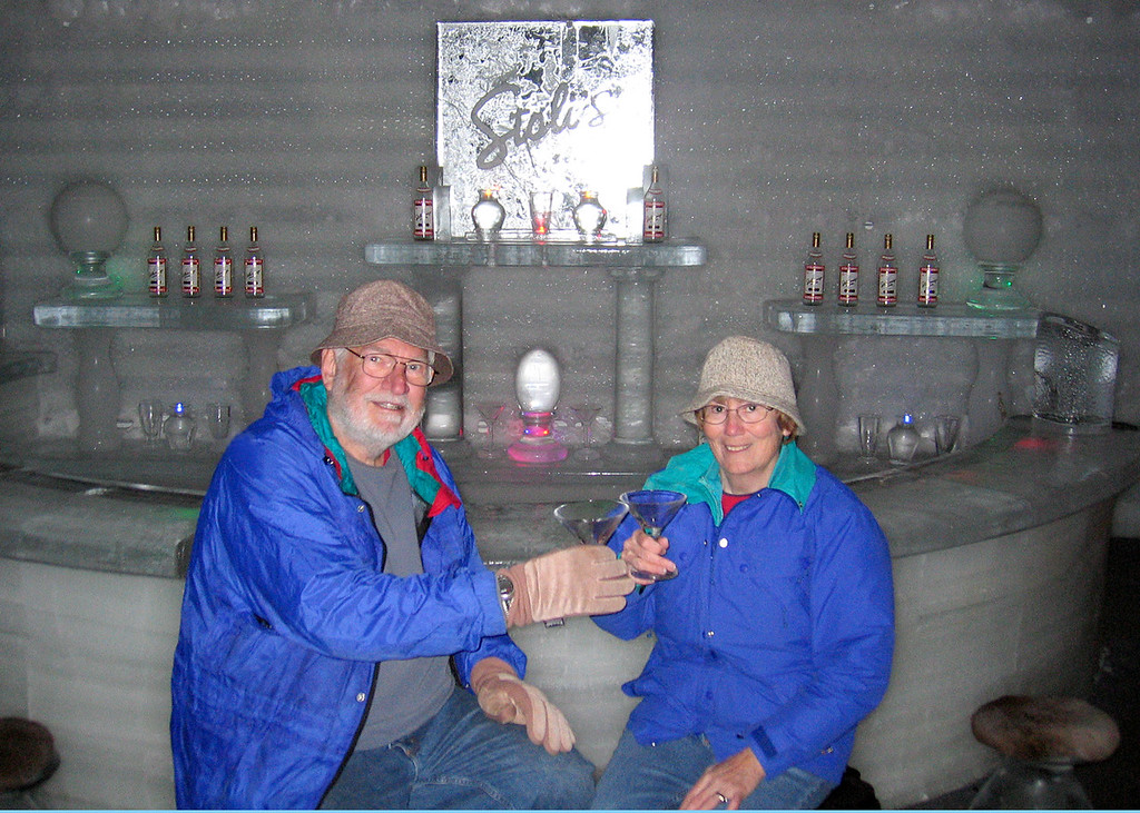 Mike and Susan toasting with the ice martini glasses